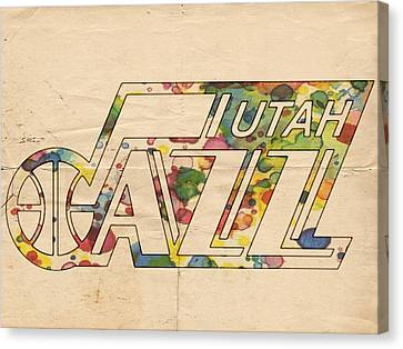 Utah Jazz Retro Poster Canvas Print by Florian Rodarte