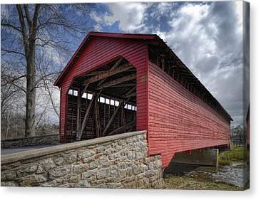 Utica Mills Covered Bridge Canvas Print by Joan Carroll