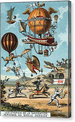 Utopian Flying Machines 19th Century Canvas Print by Science Source