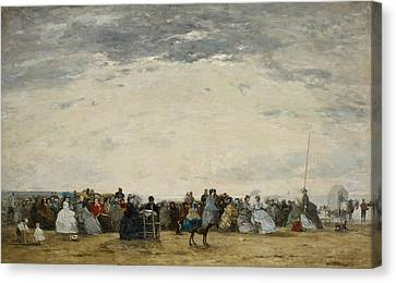 Vacationers On The Beach At Trouville Canvas Print by Eugene Louis Boudin