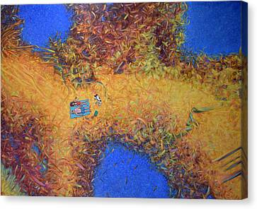 Vacationing On A Painting Canvas Print by James W Johnson