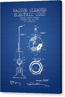 Vacuum Cleaner Electric Cord Patent From 1924 - Blueprint Canvas Print by Aged Pixel