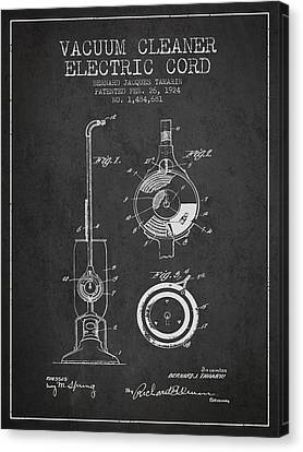 Vacuum Cleaner Electric Cord Patent From 1924 - Charcoal Canvas Print by Aged Pixel