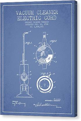 Vacuum Cleaner Electric Cord Patent From 1924 - Light Blue Canvas Print by Aged Pixel