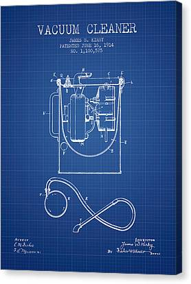 Vacuum Cleaner Patent From 1914 - Blueprint Canvas Print by Aged Pixel