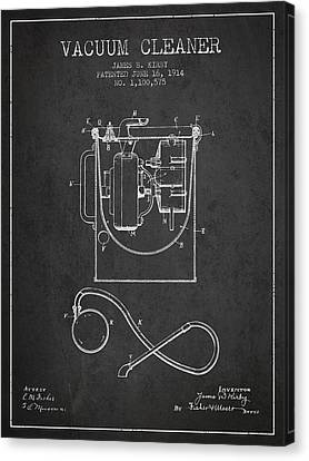 Vacuum Cleaner Patent From 1914 - Charcoal Canvas Print by Aged Pixel