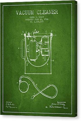 Vacuum Cleaner Patent From 1914 - Green Canvas Print by Aged Pixel