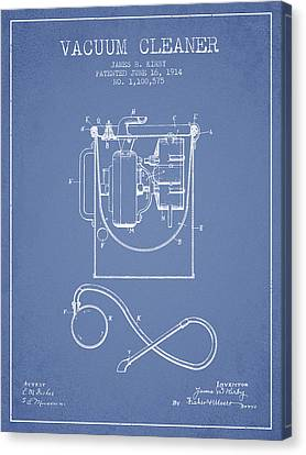 Vacuum Cleaner Patent From 1914 - Light Blue Canvas Print by Aged Pixel