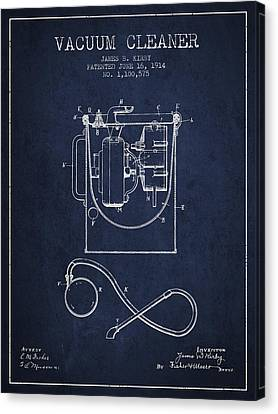 Vacuum Cleaner Patent From 1914 - Navy Blue Canvas Print by Aged Pixel