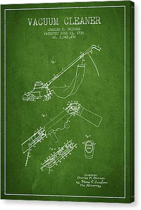 Vacuum Cleaner Patent From 1936 - Green Canvas Print by Aged Pixel