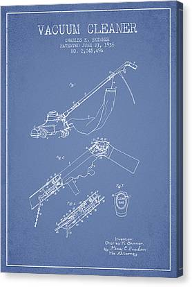 Vacuum Cleaner Patent From 1936 - Light Blue Canvas Print by Aged Pixel