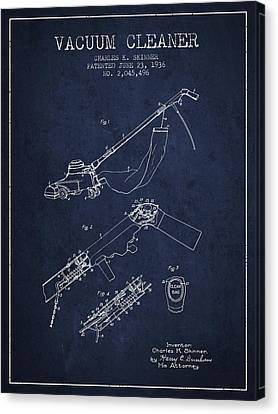 Vacuum Cleaner Patent From 1936 - Navy Blue Canvas Print by Aged Pixel
