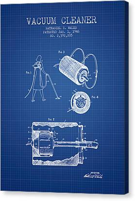 Vacuum Cleaner Patent From 1946 - Blueprint Canvas Print by Aged Pixel