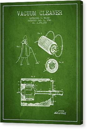Vacuum Cleaner Patent From 1946 - Green Canvas Print by Aged Pixel