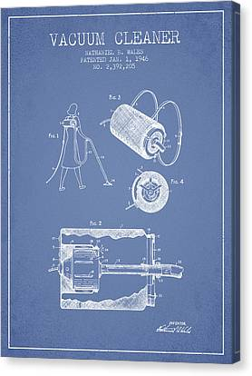 Vacuum Cleaner Patent From 1946 - Light Blue Canvas Print by Aged Pixel