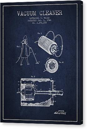 Vacuum Cleaner Patent From 1946 - Navy Blue Canvas Print by Aged Pixel