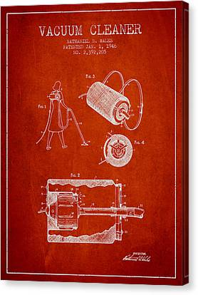 Vacuum Cleaner Patent From 1946 - Red Canvas Print by Aged Pixel