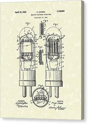 Vacuum Tube 1929 Patent Art Canvas Print by Prior Art Design