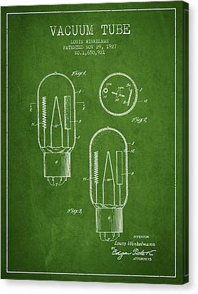 Vacuum Tube Patent From 1927 - Green Canvas Print by Aged Pixel