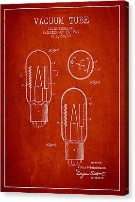 Vacuum Tube Patent From 1927 - Red Canvas Print by Aged Pixel