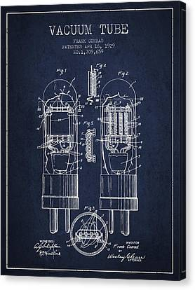 Vacuum Tube Patent From 1929 - Navy Blue Canvas Print by Aged Pixel