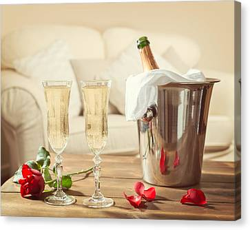 Valentines Day Champagne Canvas Print by Amanda And Christopher Elwell
