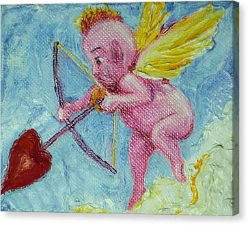 Valentine's Day Cupid And Heart Arrow Canvas Print by Paris Wyatt Llanso