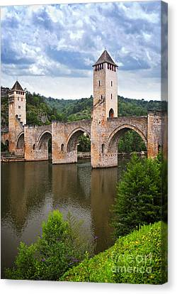 Valentre Bridge In Cahors France Canvas Print by Elena Elisseeva