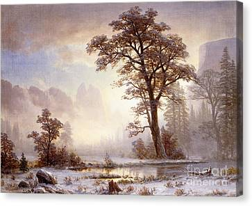 Valley Of The Yosemite Snow Fall Canvas Print by Albert Bierstadt