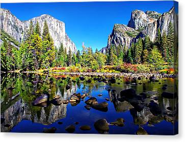 Valley View Reflection Yosemite National Park Canvas Print by Scott McGuire