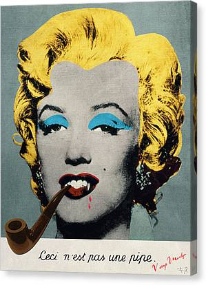 Vampire Marilyn With Surreal Pipe Canvas Print by Filippo B