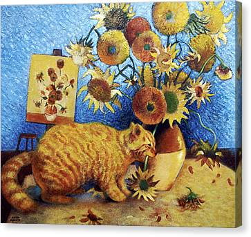 Van Gogh's Bad Cat Canvas Print by Eve Riser Roberts
