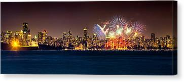 Vancouver Celebration Of Light Fireworks 2013 - Day 2 Canvas Print by Alexis Birkill
