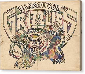 Vancouver Grizzlies Retro Poster Canvas Print by Florian Rodarte