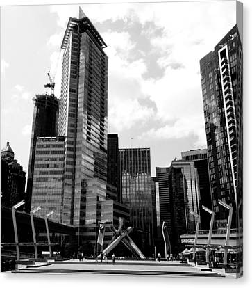 Vancouver Olympic Cauldron- Black And White Photography Canvas Print by Linda Woods