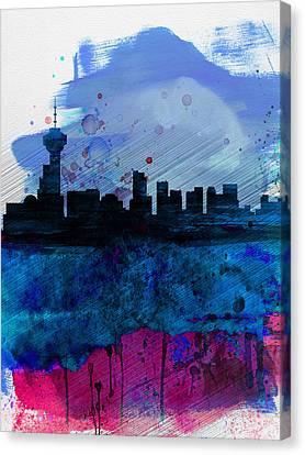 Vancouver Watercolor Skyline Canvas Print by Naxart Studio