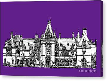 Vanderbilt's Biltmore In Purple Canvas Print by Adendorff Design