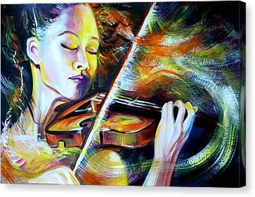 Vanessa-mae.power Of Music Canvas Print by Anna  Duyunova