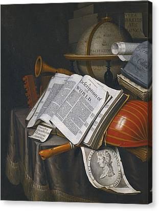Vanitas Still Life With An Upturned Lute Canvas Print by Celestial Images