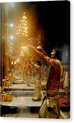 Varanasi's Ganga Aarti Canvas Print by Money Sharma