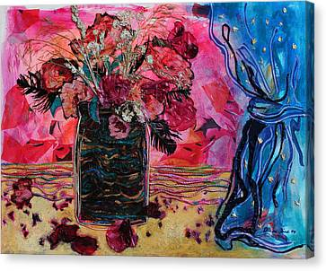 Vase And Blue Curtain Canvas Print by Diane Fine