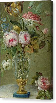 Vase Of Flowers On A Table Canvas Print by Michel Bellange