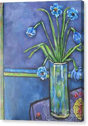 Vase With Blue Flowers And Cherries Canvas Print by Chaline Ouellet