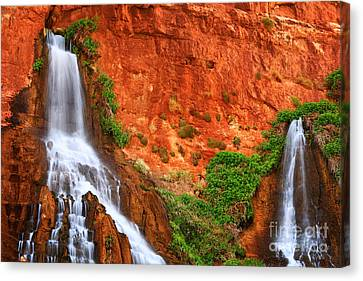Vaseys Paradise Twin Falls Canvas Print by Inge Johnsson