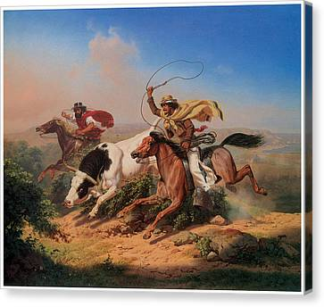 Vasqueros Roping A Steer Canvas Print by Charles Christian Nahl