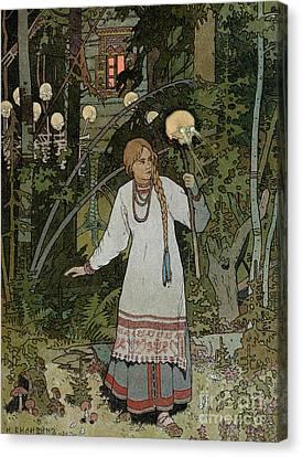 Vassilissa In The Forest Canvas Print by Ivan Bilibin