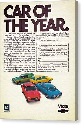 Vega - Car Of The Year 1971 Canvas Print by Mountain Dreams