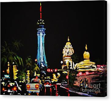 Vegas At Night Canvas Print by John Malone