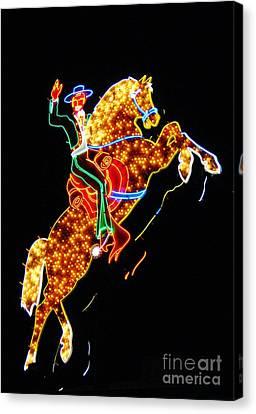 Vegas Cowboy Sign Canvas Print by John Malone