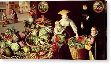 Vegetable Market Canvas Print by Lucas van Valckenborch
